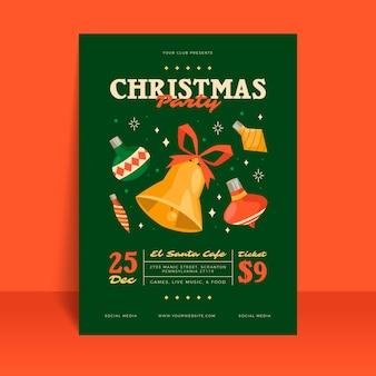Modelo de pôster de festa de natal em design plano
