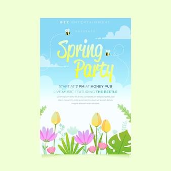 Modelo de pôster de festa de primavera desenhado à mão