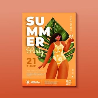 Modelo de pôster de festa de verão em aquarela pintada à mão