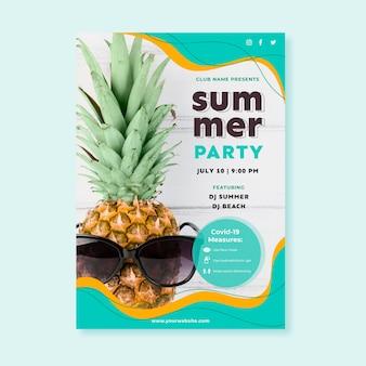 Modelo de pôster de festa de verão plana com foto