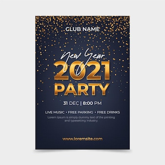 Modelo de pôster de festa dourada do ano novo 2021