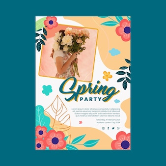 Modelo de pôster de festa plana de primavera
