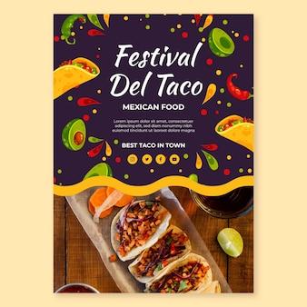 Modelo de pôster de festival de comida mexicana