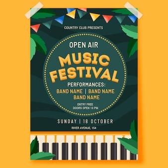 Modelo de pôster de festival de música ao ar livre