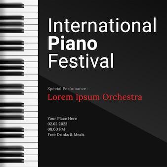 Modelo de pôster de festival de música com teclas de piano
