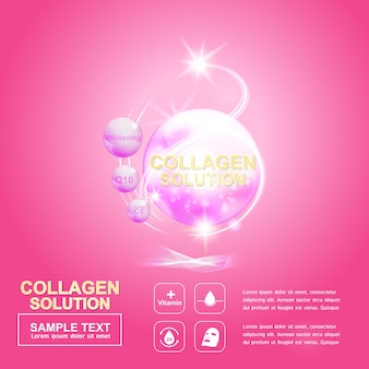 Modelo de pôster de fundo rosa de bola de colágeno