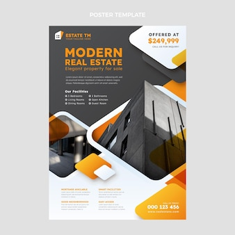 Modelo de pôster de gradiente imobiliário