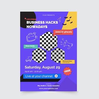 Modelo de pôster de hacks de negócios hoje em dia