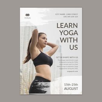 Modelo de pôster de ioga com foto