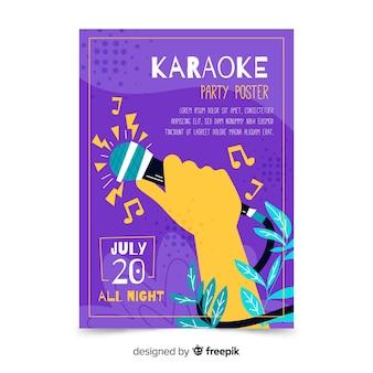 Modelo de pôster de karaoke desenhada de mão
