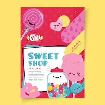 Modelo de pôster de loja de doces com ilustrações
