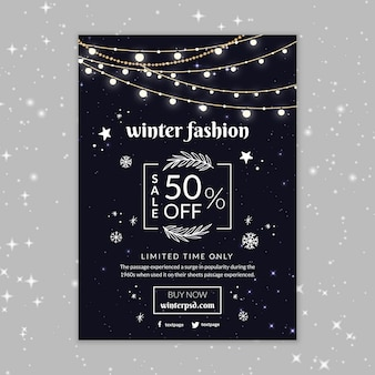 Modelo de pôster de moda inverno