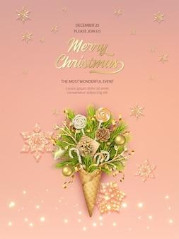 Modelo de pôster de natal e ano novo com cone de waffle cheio de ramos de pinheiro e enfeites