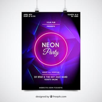 Modelo de poster de néon roxo do partido