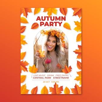 Modelo de pôster de outono vertical realista com foto