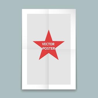 Modelo de pôster de papel dobrado com linhas vincadas e uma estrela vermelha no centro