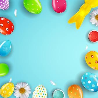 Modelo de pôster de páscoa com pintura de ovos realistas em 3d