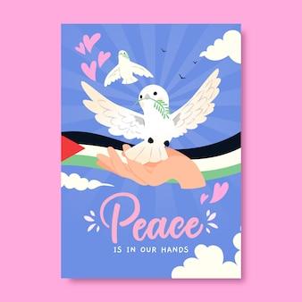 Modelo de pôster de paz desenhado à mão