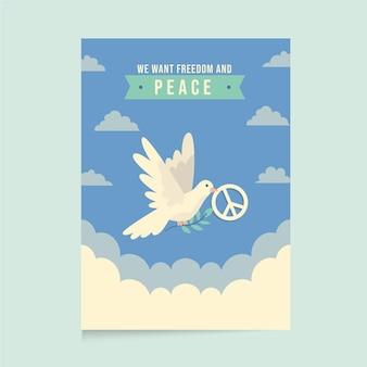 Modelo de pôster de paz em design plano