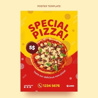 Modelo de pôster de pizza plana