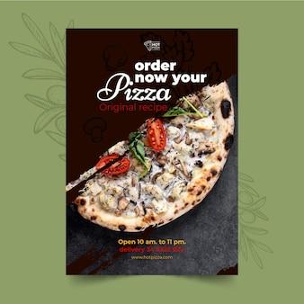 Modelo de pôster de pizzaria