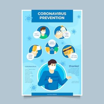 Modelo de pôster de prevenção de coronavírus