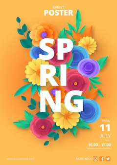 Modelo de poster de primavera com flores de corte de papel colorido