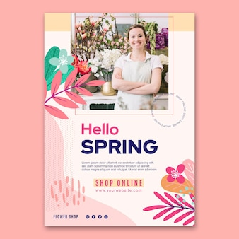 Modelo de pôster de primavera plana