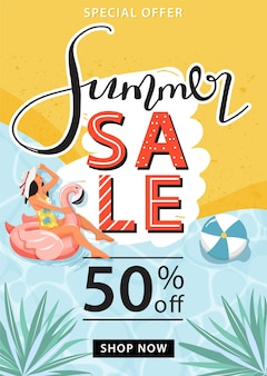 Modelo de pôster de promoção de venda de verão