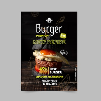Modelo de pôster de restaurante de hambúrgueres