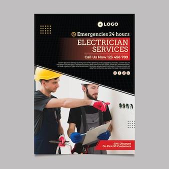 Modelo de pôster de serviços de eletricista