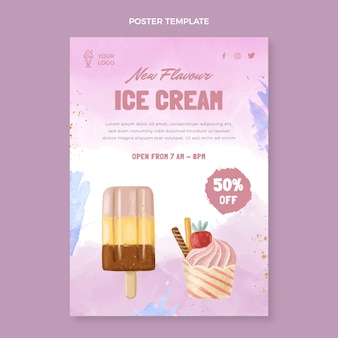 Modelo de pôster de sorvete em aquarela