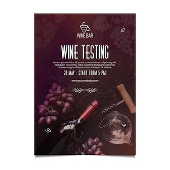 Modelo de pôster de teste de vinho com garrafa