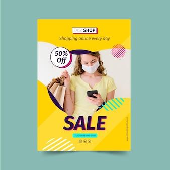 Modelo de pôster de venda com foto