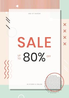 Modelo de pôster de venda de 80 por cento da neo memphis