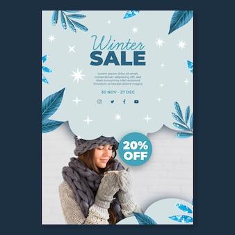 Modelo de pôster de venda de inverno com foto