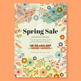 Modelo de pôster de venda de primavera desenhado à mão
