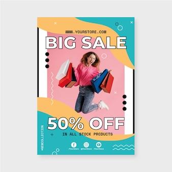 Modelo de pôster de venda vertical com foto