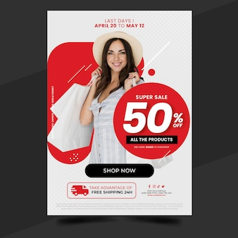 Modelo de pôster de venda vertical gradiente com foto