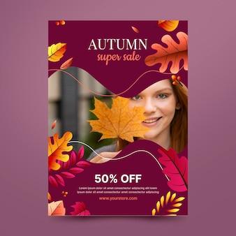 Modelo de pôster de venda vertical outono gradiente com foto