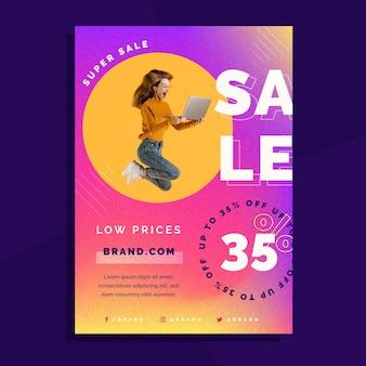 Modelo de pôster de vendas gradiente