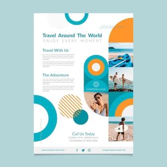 Modelo de pôster de viagem ao redor do mundo