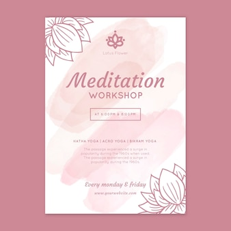 Modelo de pôster de workshop de meditação