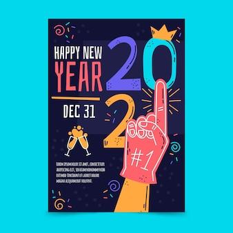 Modelo de pôster desenhado à mão para festa de ano novo 2021