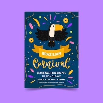 Modelo de pôster desenhado à mão para o carnaval brasileiro