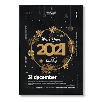 Modelo de pôster do ano novo 2021