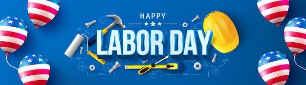 Modelo de pôster do dia do trabalho dos estados unidos celebração do dia do trabalho com a bandeira americana de balão