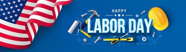 Modelo de pôster do dia do trabalho dos estados unidos celebração do dia do trabalho com bandeira americana
