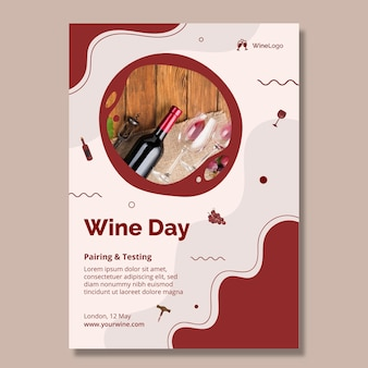 Modelo de pôster do dia do vinho