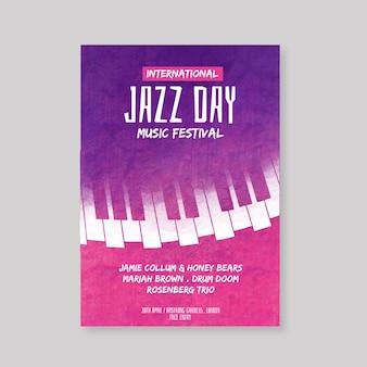 Modelo de pôster do dia internacional do jazz em aquarela